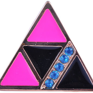 Gold Plated Pink Black Triangle Rhinestone Ring RUR0000169