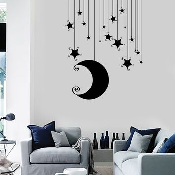 Wall Vinyl Decal Nusery Room Moon Stars Baby Kids Mural Unique Gift z3681
