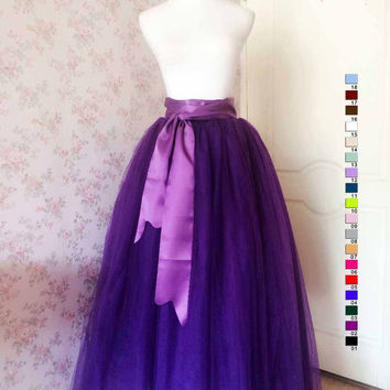 Romantic Purple Maxi Skirt Maxi Tulle Skirt Adults Maxi Tutus Women Tutu Skirt Petticoat Plus Size Tulle Skirt Wedding Party Skirt