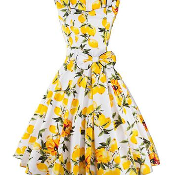 Casual Fruit Printed Elegant Sweet Heart Bowknot Skater Dress