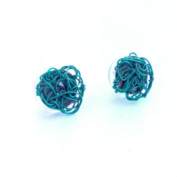 Turquoise Stud Earrings, Wire Crochet Earrings, Wire Crochet Jewelry, Rocker Jewelry, Funky Earrings Rave Bohemian Wire Jewelry