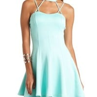 Strappy Halter Skater Dress by Charlotte Russe