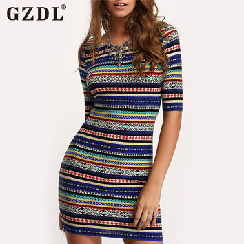 GZDL Women Dress Short Sleeve Backless Striped Stretch Bodycon Dress Boho Bohemian Party Sexy Club Ladies Summer Vestidos CL2988