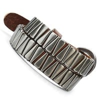 NEW Unique Mens Silver Mouth Style Leather Bracelet Cuff by R&B Jewelry for Men