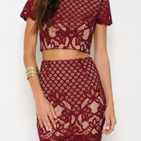Kathy Burgundy Two-Piece Dress