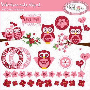 Valentine's Day clipart, owl clipart, Valentine owl clipart, cherry blossom clipart, Valentine frames clipart, P103