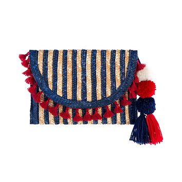 Navy and Red Pom Pom and Tassel Clutch