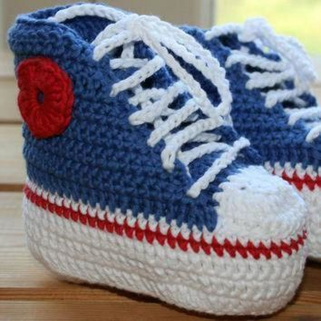 LMFON organic cotton crochet baby converse booties high tops boots shoes blue whit