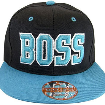 Boss Adjustable OSFA Flat Bill Snapback Baseball Hat Cap Aqua Teal Blue
