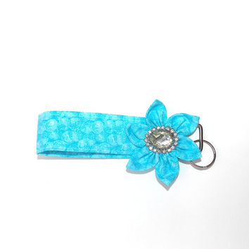 Key Chain, wristlet, Key Fob in Blue with  matching Kanzashi Flower with rhinestone center