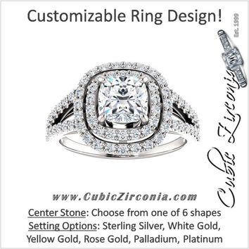 Cubic Zirconia Engagement Ring- The Carly (Customizable Halo-Style Split-Band)