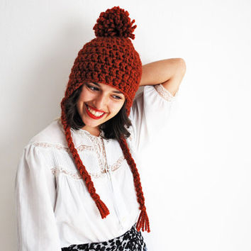 Pom-Pom Ear Flap Hat Hand Crocheted in Autumn Spice Wool Blend - MADE TO ORDER