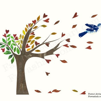 Autumn Love Tree Print, 10 x 8, Limited Edition, Blue Jay Bird, Autumn Season, Home wall Decor Art, Autumn Colors, Brown, orange, red, uk