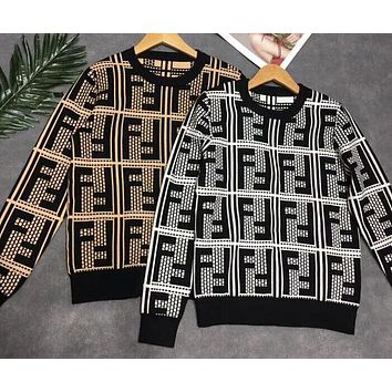 FENDI Fashionable Women Casual FF Letter Jacquard Knit Slim Sweater Top Sweatshirt