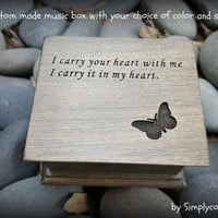 music box, wooden music box, custom made music box, I carry your heart, personalized music box, i love you, anniversary.
