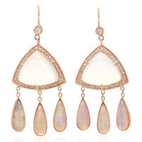 Diamond, Moonstone Triangle and Opal Teardrop Earrings | Moda Operandi