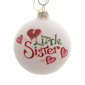 Holiday Ornaments LITTLE MIDDLE BIG SIBLING BALL Family Siblings C4890 Little Sister