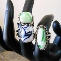 Vintage Marbled Glass Rings W. Germany, Set of 3
