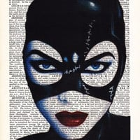 Catwoman's Face Michelle Pfieffer Movie Art- Dictionary Print- Gift Print On Dictionary Book Page- Dorm Decor Wall Art Poster