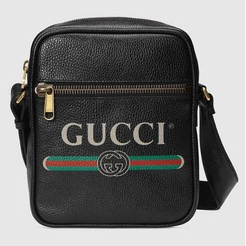 GUCCI Classic Trending Women Men Leather Single Shoulder Bag Zipper Crossbody Satchel Black