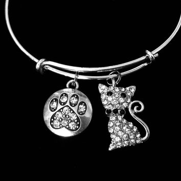 Crystal Cat Paw Adjustable Bracelet Silver Expandable Charm Bracelet Wire Bangle Gift Cat Lovers Gift