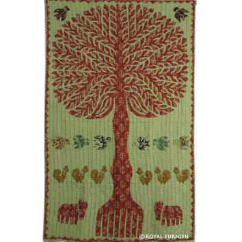 "34"" Indian Cutwork Kantha Patchwork Tree Of Life Tapestry Wall Hanging Decor Art"