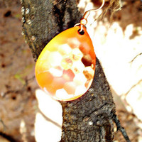 Red Orange and Yellow Spinner Blade Earrings