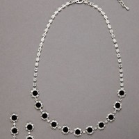 Clear and Black Crystal Necklace and Earring Set - David's Bridal