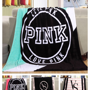 Pink VS Secret  Sofa Blanket Printed No Fade No Shrink Fleece Blanket Western Style Beach Blanket Four Season Blanket Beach L4