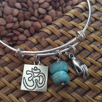 Mudra Hand Turquoise Stones Om Charm Bracelet Adjustable Expandable Silver Wire Bangle Trendy Yoga Inspired Meaningful Inspirational