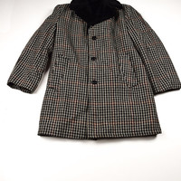 70s Vintage Throwback Houndstooth Wool Coat for Men by Bell-Craft Small