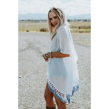 Point Breeze Fringed Kimono - Blue