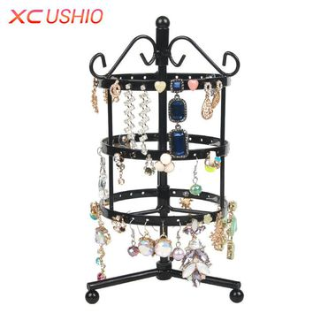 72/128 Holes Rotatable Earring Display Holder Round Square Metal Jewelry Show Rack Detachable Earring Display Shelf
