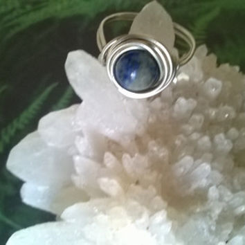 natural Lapis Lazuli ring artisan wire wrapped blue stone ring Pisces birthstone handmade gemstone jewelry crystal jewelry silver or gold