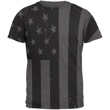 DCCKU3R July 4th Black And White American Flag Mens Soft T Shirt