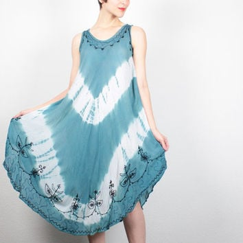 Vintage Midi Dress Teal Blue Tie Dye Dress Gauze Sundress Hippie Dress Boho Tent Dress Embroidered Tie Dyed Dress Gauzy Festival Dress OS