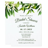 Elegant Olive Boho Summer Bridal Shower Invitation