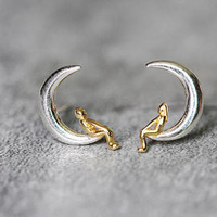 Lovers Moon Earrings, Sterling Silver Moon Stud Earrings, Tiny earrings studs, cute earrings, love earrings Moon Jewelry, gifts for her