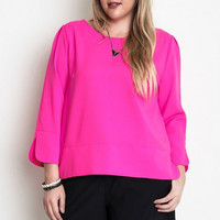 Plus Size 3/4 Sleeve Casual Chic Top - Hot Pink