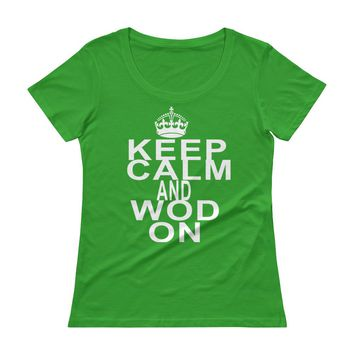Keep Calm and WOD on Cross Training t-shirts Top , Women's lifting tank, Funny gym shirt