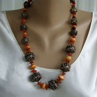 Amber Bone Silver Bead Necklace Probably Tibetan Vintage Jewelry