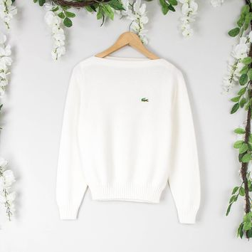 Vintage White Lacoste Sweater