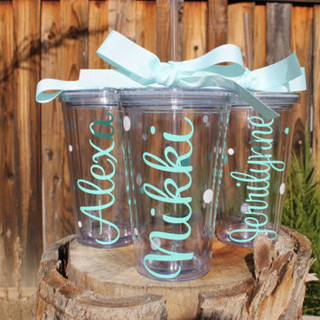 Set of 3 Personalized Name Tumblers - Super Cute - Choose Fonts and Colors - Great Gift - Decorated with Name and Polka Dots Customizable