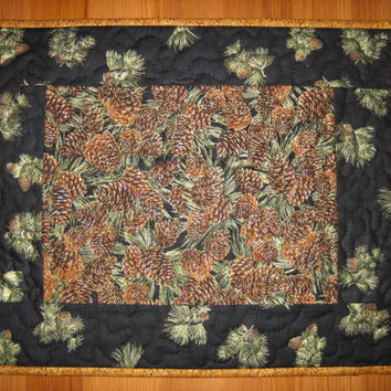 Quilted Placemats Pine Cones on Black Mountain Rustic Cabin