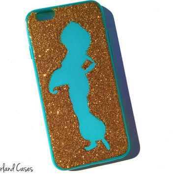 Princess Jasmine iPhone 6 Case Glitter Phone Case Disney Princess Jasmine Silhouette iPhone 6 Glitter Cover