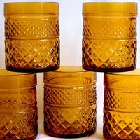 Amber Depression Glass Tumblers | lilgreenshop - Glass on ArtFire