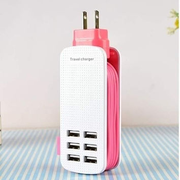 Cool Smart Travel Charger: 6 Port USB + 5 Foot Cable