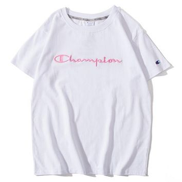 Champion Trending Women Men Casual Pink Logo Embroidery Short Sleeve Lovers T-Shirt Top I12099-1