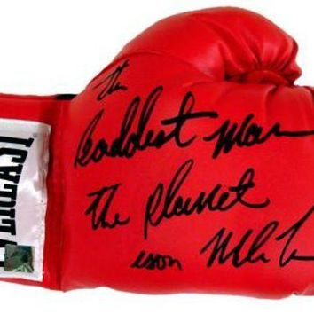 DCCKJNG Mike Tyson Signed Autographed 'The Baddest Man On The Planet' Everlast Boxing Glove (ASI COA)