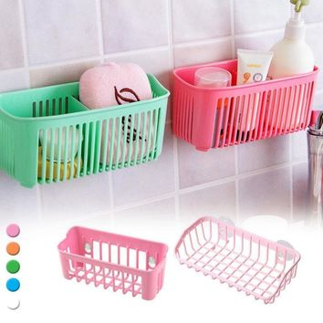 Kitchen / Bathroom Over-The-Sink Double Suction-Cup Shelf Storage Organizer Basket - 2 Sizes (5 Colors)